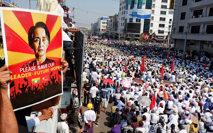 Demonstrators protest against a military coup in Mandalay - Reuters