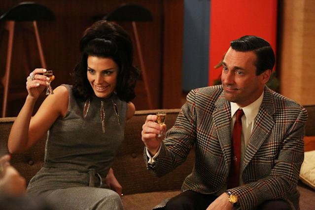"Megan Draper (Jessica Pare) and Don Draper (Jon Hamm) in Part 2 of the ""Mad Men"" Season Premiere, ""The Doorway."""