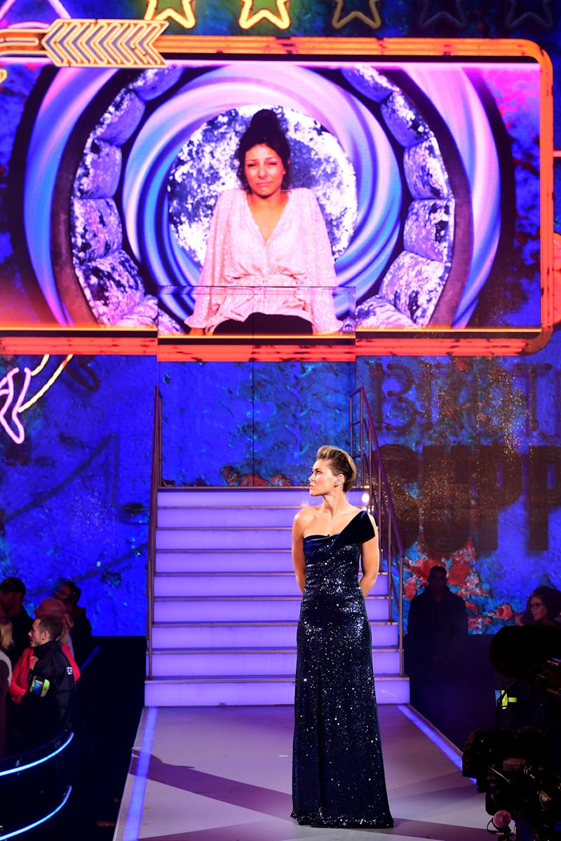 Presenter Emma Willis as Roxanne Pallett is shown on the big screen during the live final of Celebrity Big Brother at Elstree Studios, Hertfordshire. (Photo by Ian West/PA Images via Getty Images)