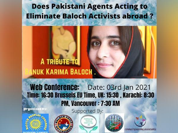 A video conference will be held on January 3 to discuss the role of Pakistani agents in killing of Baloch activists.