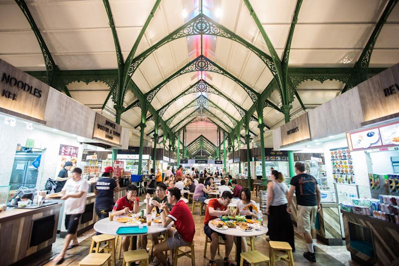 On Rachel's first night in Singapore, she goes to Lau Pa Sat for satay with Nick, Colin and Araminta. Lau Pa Sat is one of Singapore's famous hawker centers, dining complexes filled with food stalls selling inexpensive delicacies.
