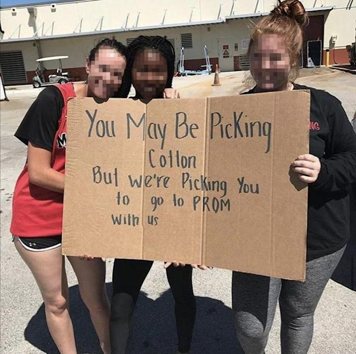 A recently tweeted image of girls holding a racist sign