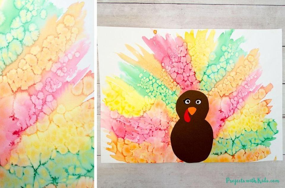"<p>Give the young ones a mini chemistry lesson: While the watercolor paint is still wet, add course salt to form these fun patterns. <a href=""https://www.projectswithkids.com/watercolor-turkey-craft-for-kids/"" rel=""nofollow noopener"" target=""_blank"" data-ylk=""slk:Projects with Kids"" class=""link rapid-noclick-resp"">Projects with Kids</a> says it's best to do one half of the paper at a time to avoid drying.</p><p><a class=""link rapid-noclick-resp"" href=""https://go.redirectingat.com?id=74968X1596630&url=https%3A%2F%2Fwww.michaels.com%2F36-color-watercolor-pan-set-by-artists-loft-necessities%2F10122060.html&sref=https%3A%2F%2Fwww.delish.com%2Fholiday-recipes%2Fthanksgiving%2Fg33808794%2Fthanksgiving-decorations%2F"" rel=""nofollow noopener"" target=""_blank"" data-ylk=""slk:BUY NOW"">BUY NOW</a> <em><strong>Watercolor paint set, $5.99</strong></em></p>"