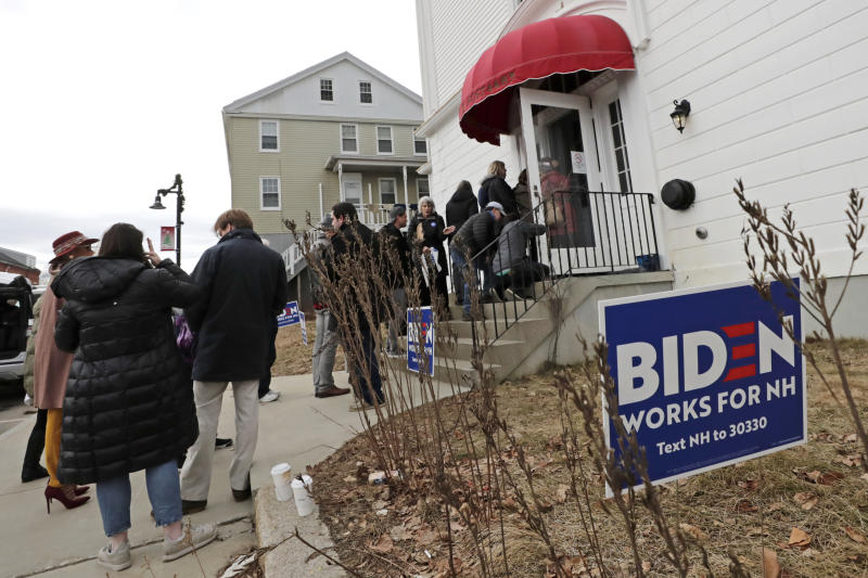 People make their way into a campaign event for Democratic presidential candidate former Vice President Joe Biden, Wednesday, Feb. 5, 2020, in Somersworth, N.H. (Elise Amendola/AP)