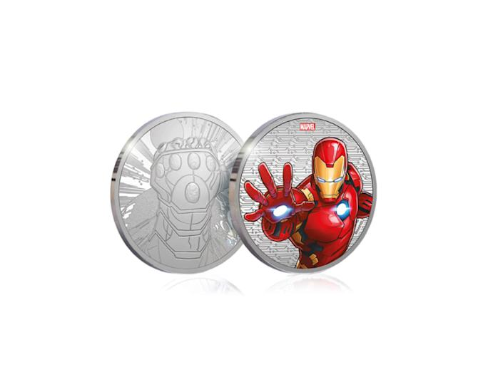 This medal style coin depicts the Avenger in all his gloryThe Royal Mint