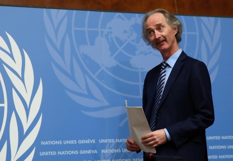 UN Special Envoy for Syria Pedersen attends a news conference ahead of the meeting of the new Syrian Constitutional Committee in Geneva