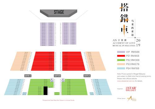 The seating plan for the musical play.