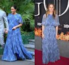 <p>During her 2019 royal visit to Morocco, the Duchess of Sussex stunned in a blue patterned Carolina Herrera gown for her private audience with King Mohammed VI. Only a few months later, actress Amanda Peet wore the same dress to the Game of Thrones season 8 premiere in New York City.</p>