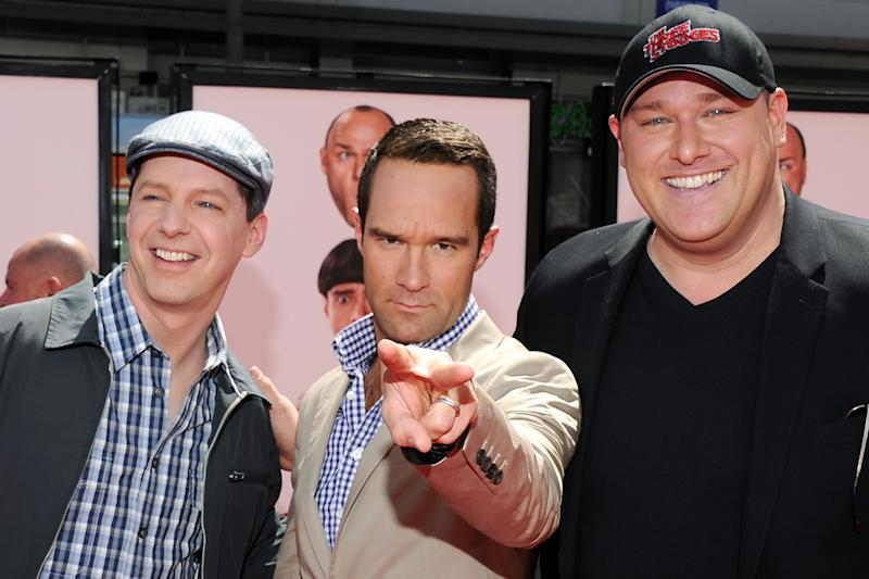 "Actors  Sean Hayes, left, Chris Diamontopoulos, center, and Will Sasso arrive at the premiere of ""The Three Stooges: The Movie"" at Grauman's Chinese Theatre in Los Angeles, Saturday, April 7, 2012.  (AP Photo/Vince Bucci)"