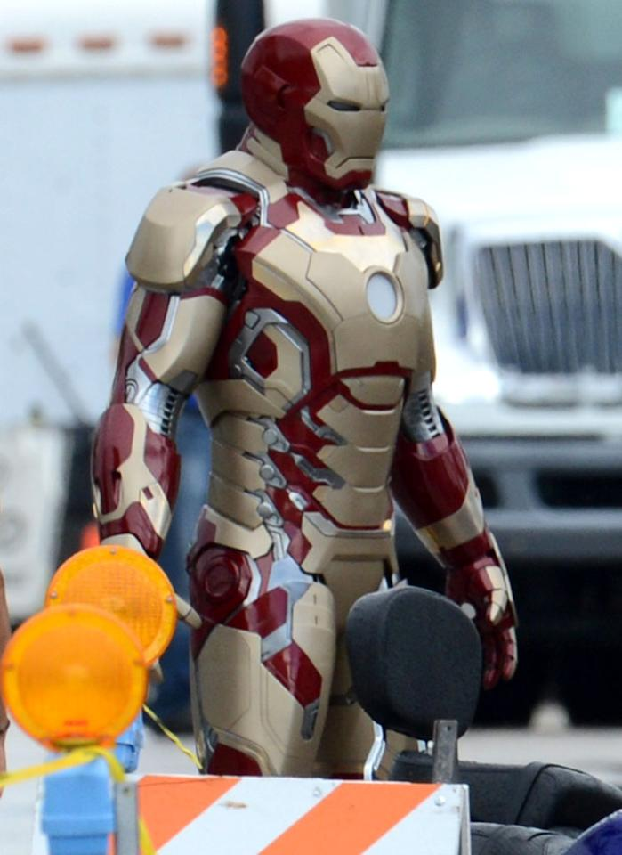 October 1, 2012: The Iron Man suit that Robert Downey, Jr. wears is seen on the set of Iron Man 3 in Dania Beach, Florida.