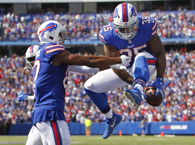 <p>Buffalo Bills' Mike Tolbert (35) celebrates with teammate Jordan Matthews (87) after scoring a touchdown during the second half of an NFL football game against the New York Jets Sunday, Sept. 10, 2017, in Orchard Park, N.Y. (AP Photo/Jeffrey T. Barnes) </p>