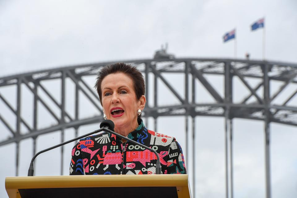 Lord Mayor of Sydney Clover Moore speaks at New Year's Eve celebrations at the Sydney Opera House in Sydney, Tuesday, December 4, 2018. (AAP Image/Peter Rae)