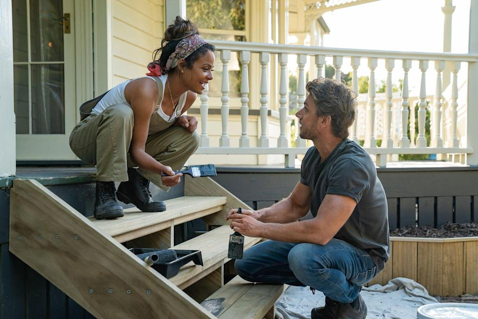 """<p> Netflix's feel-good romance <strong><a href=""""https://www.popsugar.com/entertainment/Falling-Inn-Love-Netflix-Movie-Trailer-46494407"""" class=""""link rapid-noclick-resp"""" rel=""""nofollow noopener"""" target=""""_blank"""" data-ylk=""""slk:Falling Inn Love"""">Falling Inn Love</a> </strong> has everything you need in a cheesy rom-com: a punny title, a gorgeous setting, and a scenario built to make its leads fall in (sorry, inn) love against all odds. Singer and actress Christina Milian stars as Gabriela, a city girl who spontaneously enters a contest to """"win an inn"""" - aka renovating the dilapidated Bellbird Valley Farm - after a breakup. Lo and behold, she's chosen! Which means she has to travel from her home in San Francisco to New Zealand, where the Bellbird is located. Luckily, with the help of a handsome contractor (Adam Demos), Gabriela fixes up not only the building but also her heart. </p> <p><a href=""""http://www.netflix.com/title/80999781"""" class=""""link rapid-noclick-resp"""" rel=""""nofollow noopener"""" target=""""_blank"""" data-ylk=""""slk:Watch it now."""">Watch it now.</a></p>"""
