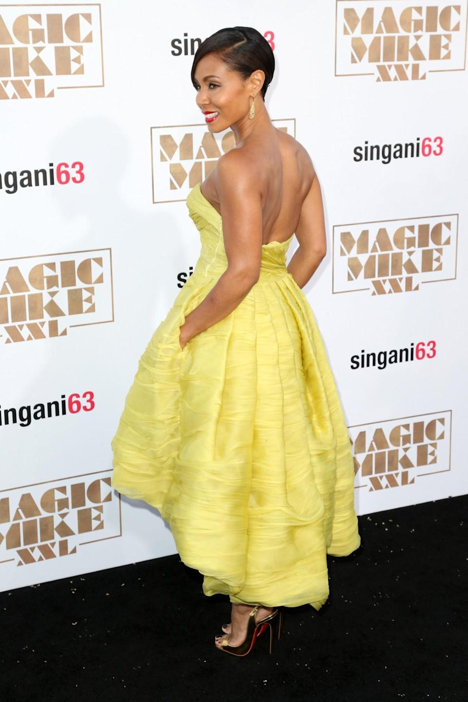 <p>Back in 2014, at the premiere of 'Magic Mike XXL', Jada worked the Belle look IRL in a strapless yellow dress. [Photo: Getty] </p>