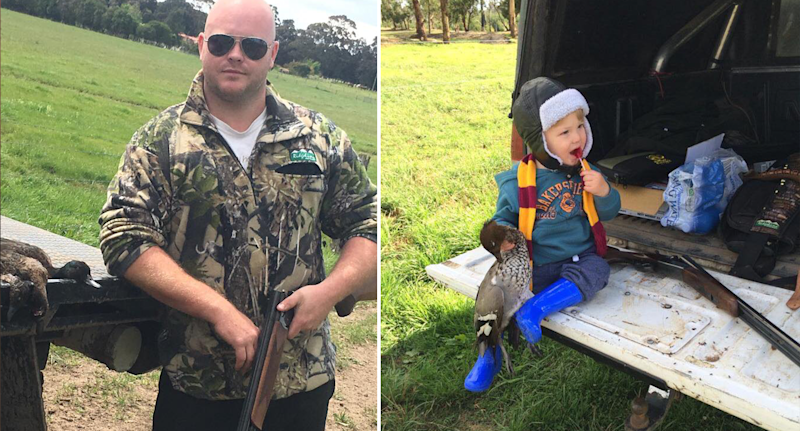 Split screen. Anthony Grogan wears sunglasses and stares at the camera with a gun in hand and a dead duck. Mr Grogan's son Duke sits on the back of a ute holding a dead duck. There is a gun behind him.