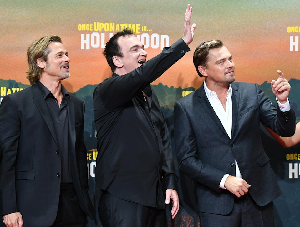 Brad Pitt, Quentin Tarantino and Leonardo DiCaprio at the German premiere of 'Once Upon a Time in Hollywood'. (Photo by Jens Kalaene/picture alliance via Getty Images)