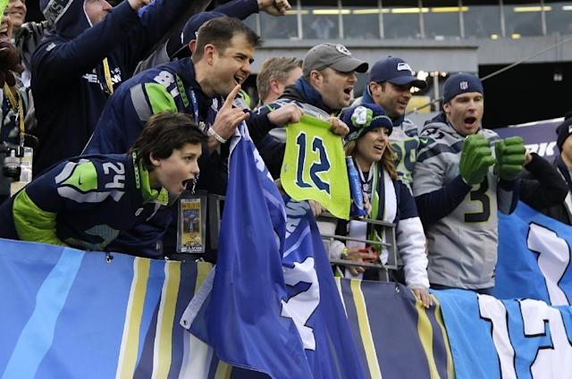 Seattle Seahawks fans cheer at MetLife Stadium before the NFL Super Bowl XLVIII football game between the Seattle Seahawks and the Denver Broncos Sunday, Feb. 2, 2014, in East Rutherford, N.J. (AP Photo/Matt Slocum)