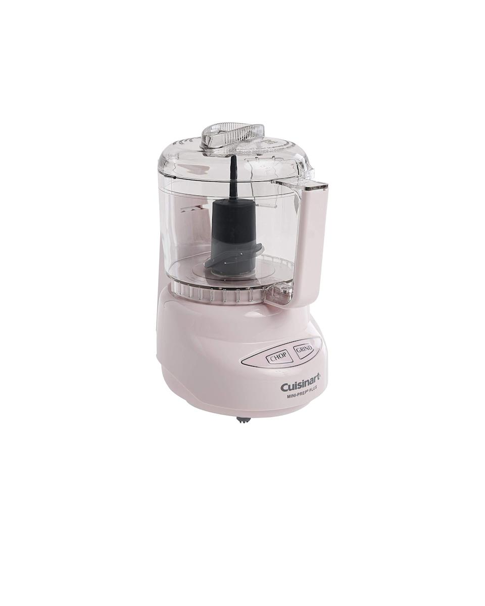 """<p><strong>Cuisinart</strong></p><p>amazon.com</p><p><strong>$39.95</strong></p><p><a href=""""https://www.amazon.com/dp/B000TVQVB2?tag=syn-yahoo-20&ascsubtag=%5Bartid%7C10049.g.36880793%5Bsrc%7Cyahoo-us"""" rel=""""nofollow noopener"""" target=""""_blank"""" data-ylk=""""slk:Shop Now"""" class=""""link rapid-noclick-resp"""">Shop Now</a></p><p>This processor is made for those just getting started in the kitchen with its clearly labeled buttons and solidly-sized bowl (it holds three cups!). Also, it's pink. :) </p>"""