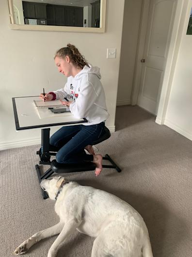 Caitlyn Wilcox, age 14, using the family's new Edge Desk to do school work at home in Heber City, Utah.