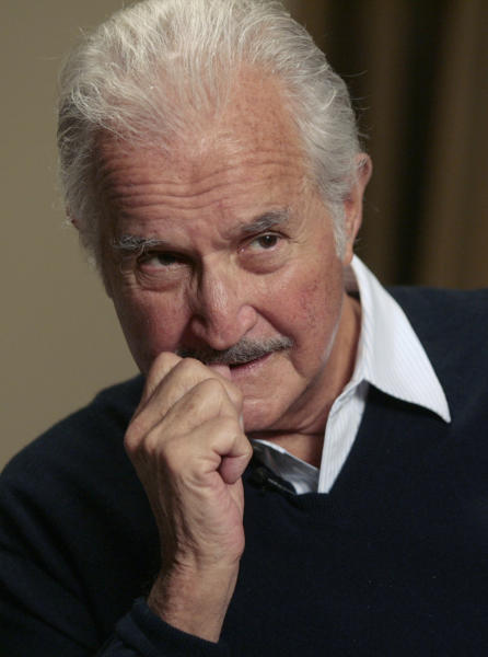 FILE - In this Feb. 13, 2008 file photo, Mexican author Carlos Fuentes is interviewed by The Associated Press in Beverly Hills, Calif. Fuentes, Mexico's most celebrated novelist and among Latin America's most prominent authors, died on May 15, 2012. (AP Photo/Damian Dovarganes, File)