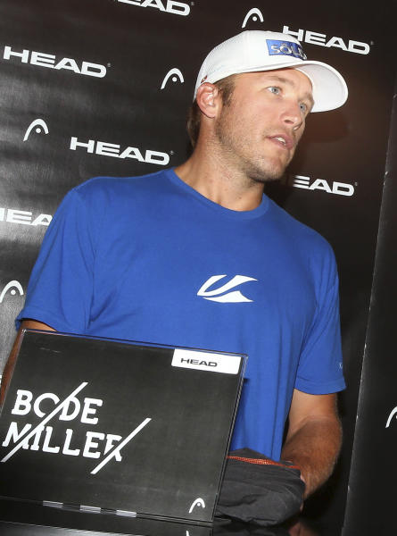 FILE- In this Oct. 24, 2013 file photo, Bode Miller speaks to the media during a news conference in Soelden, Austria. A New York judge awarded Miller's former girlfriend custody of their infant son until the court can decide which parent is most suitable to raise the child. (AP Photo/Giovanni Auletta, File)