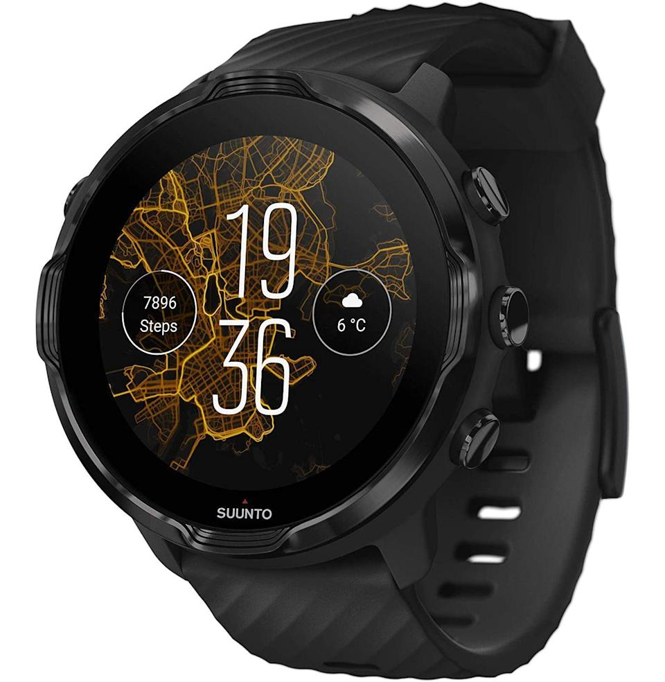 """<p><strong>Suunto</strong></p><p>amazon.com</p><p><strong>$319.98</strong></p><p><a href=""""https://www.amazon.com/dp/B083BXH4RH?tag=syn-yahoo-20&ascsubtag=%5Bartid%7C10054.g.23013003%5Bsrc%7Cyahoo-us"""" rel=""""nofollow noopener"""" target=""""_blank"""" data-ylk=""""slk:Buy"""" class=""""link rapid-noclick-resp"""">Buy</a></p><p>You cannot even comprehend the number of tracking modes Suunto equipped this smart watch with, so we'll tell you: 70. That ought to be comprehensive enough for the kind of husband who's constantly itching to be running, hiking, biking, and lifting. In fact, he could probably sprout wings and fly, and the Suunto 7 would be ready to collect his airborne stats.</p>"""