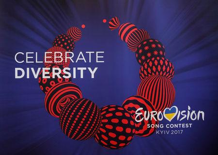 FILE PHOTO: Logo of 2017 Eurovision Song Contest is seen during ceremony to hand over Eurovision host city insignia to Ukrainian capital in Kiev