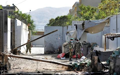 One of the bombs was detonated near the US embassy in Kabul - Credit: AP Photo/Ebrahim Noroozi