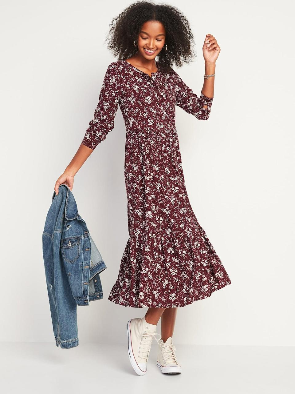 <p>The drop-hem on this <span>Floral-Print Button-Front Maxi Swing Dress</span> ($36, originally $45) is so fun. I'll wear this dress with all of my ankle boots and sneakers.</p>