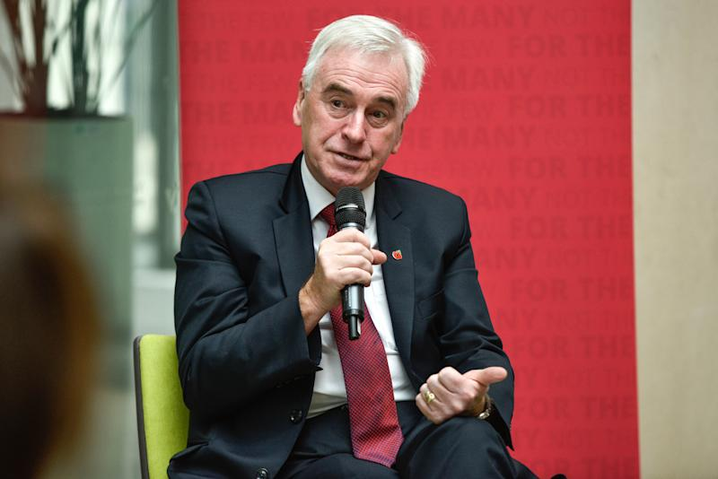 LONDON, ENGLAND - NOVEMBER 04: Shadow Chancellor John McDonnell speaks to NHS staff at an event on November 4, 2019 in London, England. Labour published data today, Monday, in which they claim reveal NHS operations being cancelled due to staff shortages and equipment failures are up by a third in two years. (Photo by Peter Summers/Getty Images)