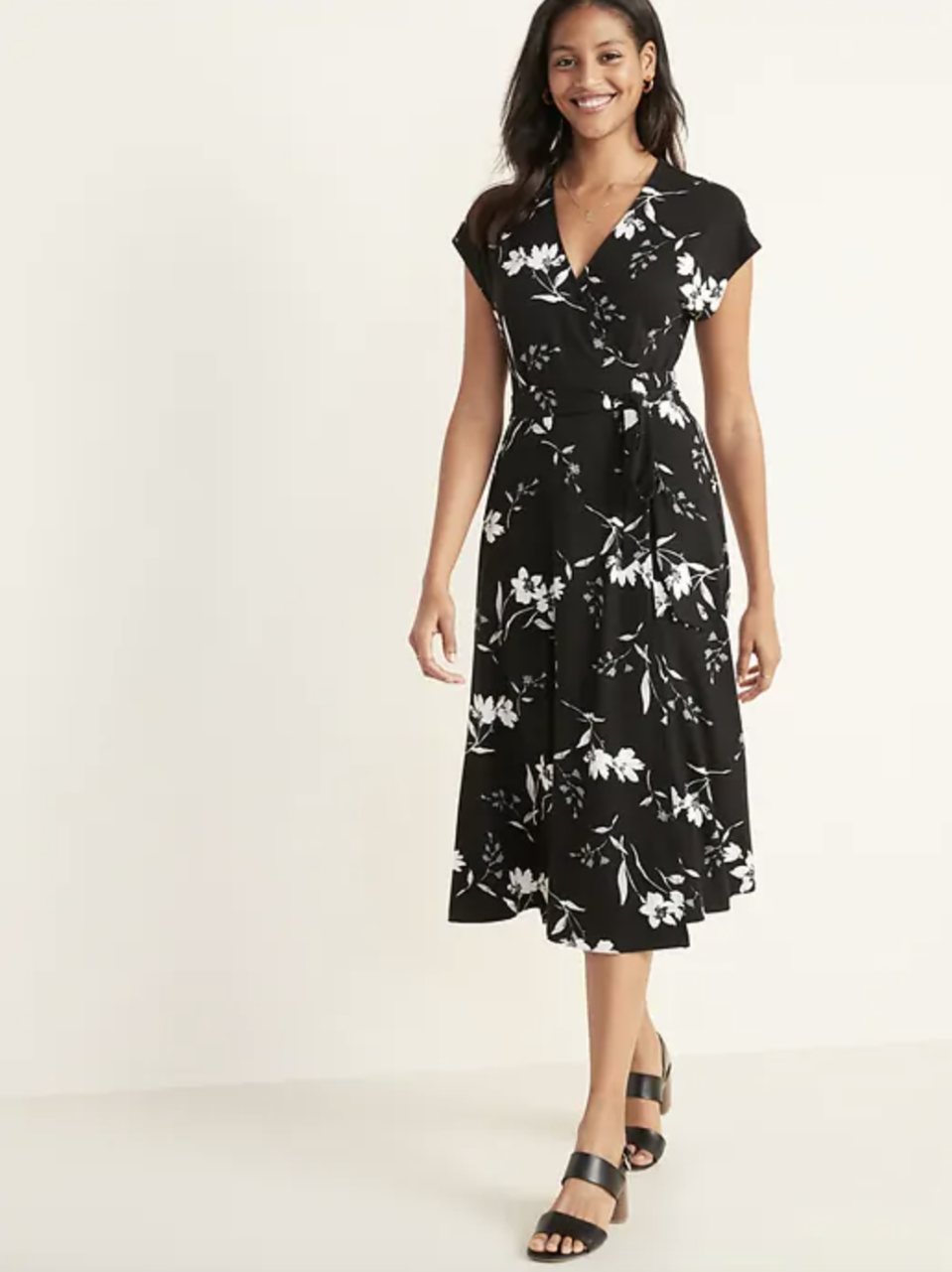 Wrap-Front Dolman-Sleeve Midi Dress for Women (Credit: Old Navy)