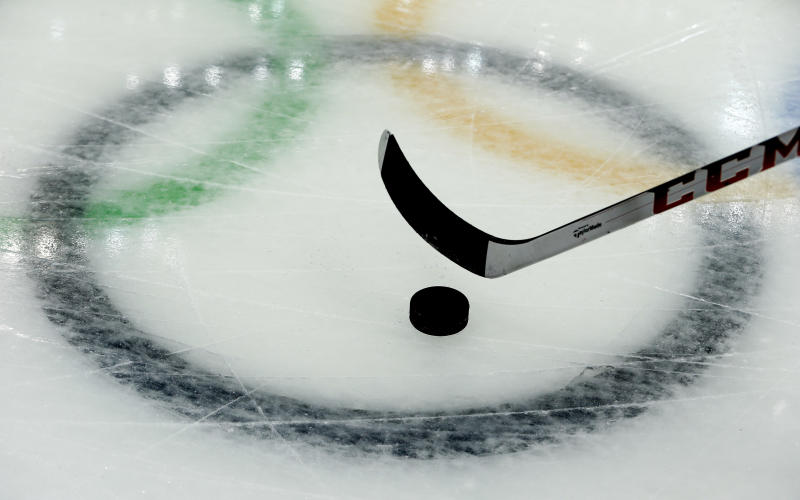 A player from the Czech Republic takes practice shots during a training session at the Bolshoy Ice Dome at the the 2014 Winter Olympics, Saturday, Feb. 8, 2014, in Sochi, Russia. (AP Photo/Julio Cortez)