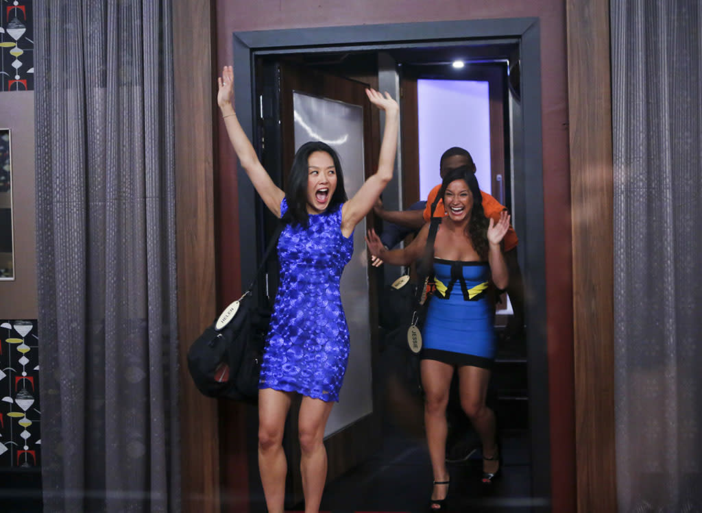 """Helen and Jessie enter the """"Big Brother"""" house for the first time."""