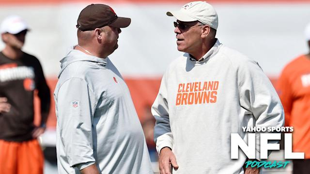 In the span of two days, the Cleveland Browns cleaned house by parting ways with head coach Freddie Kitchens (L) and general manager John Dorsey (R). (Photo credit: Ken Blaze-USA TODAY Sports)