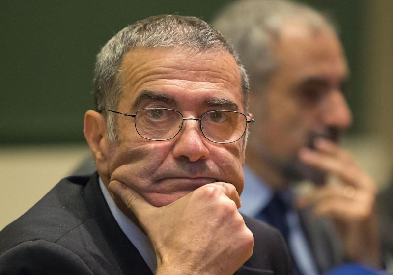 Serge Haroche of France, winner of the 2012 Nobel Prize in physics, is seen during a press conference at the College de France in Paris, Tuesday, Oct. 9, 2012. Haroche and American David Wineland shared the 2012 Nobel Prize in physics Tuesday for inventing methods to observe the bizarre properties of the quantum world, research that has led to the construction of extremely precise clocks and helped scientists take the first steps toward building superfast computers. (AP Photo/Michel Euler)