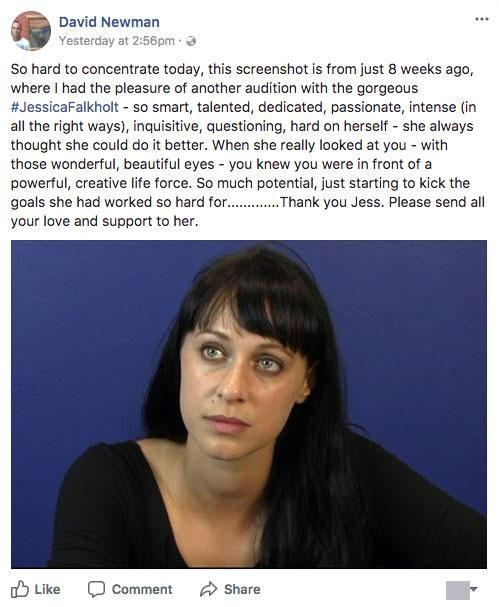 An Australian casting director has opened up about the immense potential actress Jessica Falkholt displayed before she was involved in a serious car accident that killed her parents and sister. Source: Facebook/David Newman