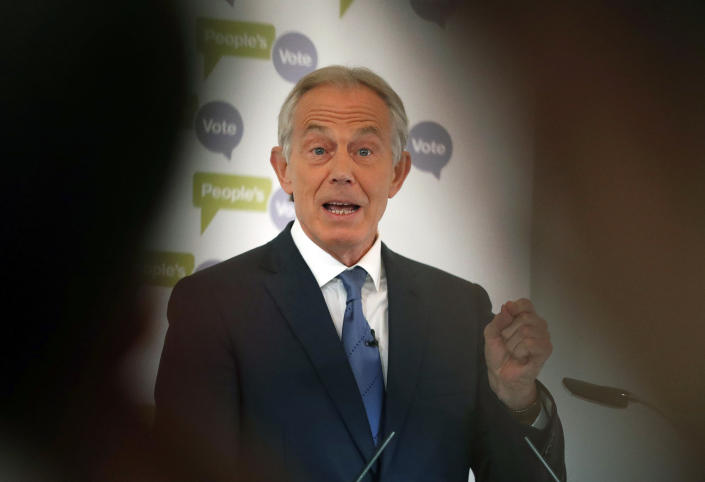 """FILE - In this Friday, Dec. 14, 2018 file photo, Britain's former Prime Minister Tony Blair makes a speech on Brexit at the British Academy in London. In a lengthy essay posted on his website late Saturday Aug. 21, 2021, Tony Blair, the British prime minister who deployed troops to Afghanistan 20 years ago after the 9/11 attacks, says the U.S. decision to withdraw from the country has """"every Jihadist group round the world cheering."""" (AP Photo/Frank Augstein, File)"""
