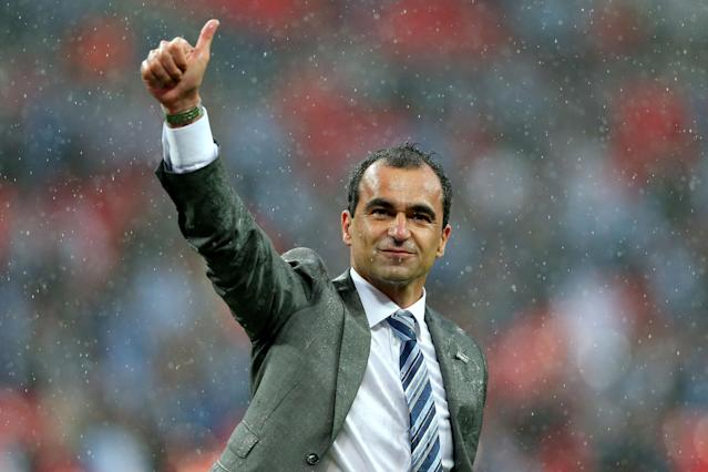 LONDON, ENGLAND - MAY 11: Manager Roberto Martinez of Wigan Athletic celebrates victory after the FA Cup with Budweiser Final between Manchester City and Wigan Athletic at Wembley Stadium on May 11, 2013 in London, England. (Photo by Alex Livesey/Getty Images)