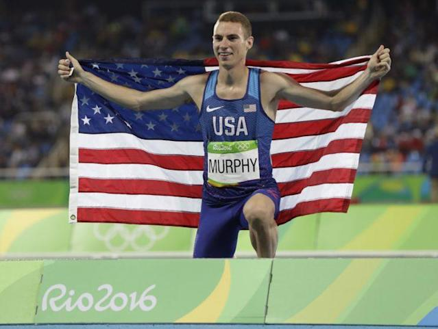 "<a class=""link rapid-noclick-resp"" href=""/olympics/rio-2016/a/1140002/"" data-ylk=""slk:Clayton Murphy"">Clayton Murphy</a> celebrates after finishing third in the men's 800 meter. (AP)"
