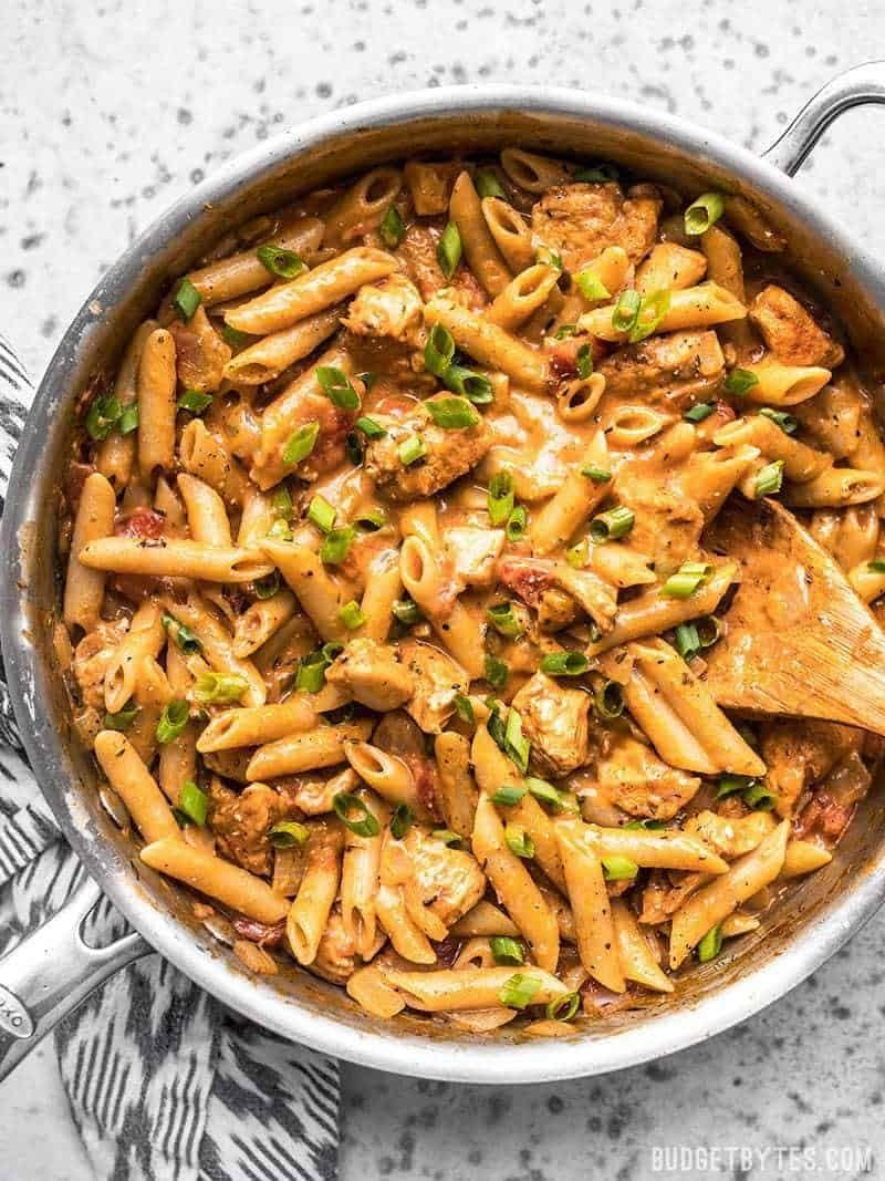 """<p>As with many recipes on this list, it's easy to dial down the heat of this spicy pasta recipe: Simply cut back on the cayenne.</p><p><strong>Get the recipe at <a href=""""https://www.budgetbytes.com/one-pot-creamy-cajun-chicken-pasta/"""" rel=""""nofollow noopener"""" target=""""_blank"""" data-ylk=""""slk:Budget Bytes"""" class=""""link rapid-noclick-resp"""">Budget Bytes</a>.</strong></p>"""