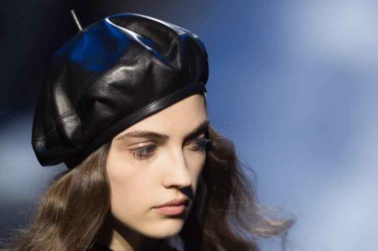 Models at Dior's Fall/Winter 2017 ready-to-wear runway show wore leather berets in each of the looks. (Photo: Getty Images)
