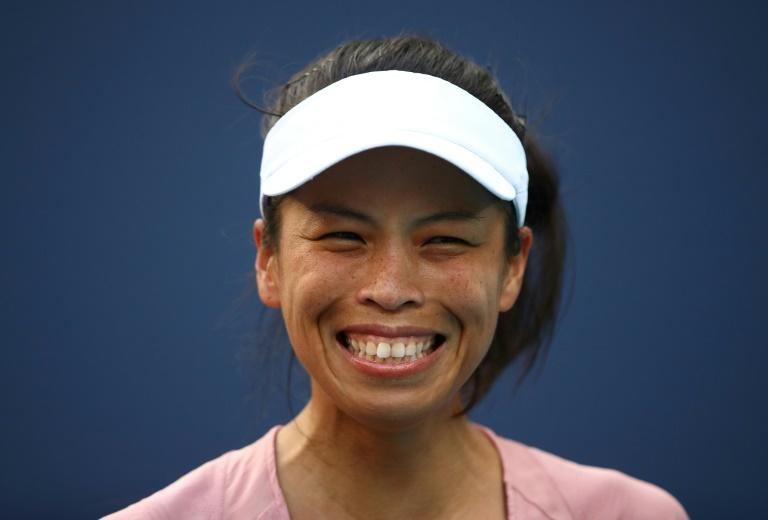 Emotional win: Taiwan's Hsieh Su-Wei is beaming after toppling world number one Naomi Osaka of Japan in three sets in the third round of the WTA and ATP Miami Open