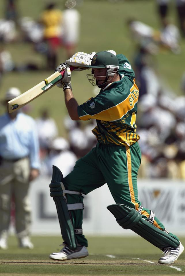 EAST LONDON - FEBRUARY 27:  Graeme Smith of South Africa in action during the ICC Cricket World Cup Pool B match between South Africa and Canada held on February 27, 2003 at Buffalo Park in East London, South Africa.  South Africa won the match by 118 runs.  (Photo by Michael Steele/Getty Images)