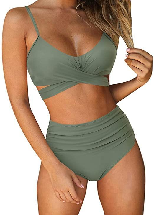 """This stylish high-waisted bikini is number eight on Amazon's best-selling swimsuits list — given how much swimwear is on the 'zon, this ranking is quite a feat. Scores of customers have populated the tie-back style's product page with glowing reviews and tons of flattering photos. <br><br><strong>Ruuhee</strong> Crossback High Waisted Bikini, $, available at <a href=""""https://www.amazon.com/RUUHEE-Waisted-String-Printed-Bathing/dp/B083Q4V52T/ref=zg_bs_1046622_8"""" rel=""""nofollow noopener"""" target=""""_blank"""" data-ylk=""""slk:Amazon"""" class=""""link rapid-noclick-resp"""">Amazon</a>"""