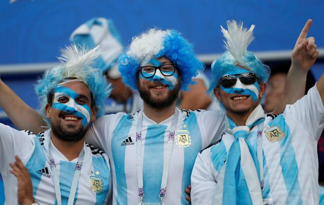 Soccer Football - World Cup - Group D - Argentina vs Croatia - Nizhny Novgorod Stadium, Nizhny Novgorod, Russia - June 21, 2018 Argentina fans inside the stadium before the match REUTERS/Murad Sezer