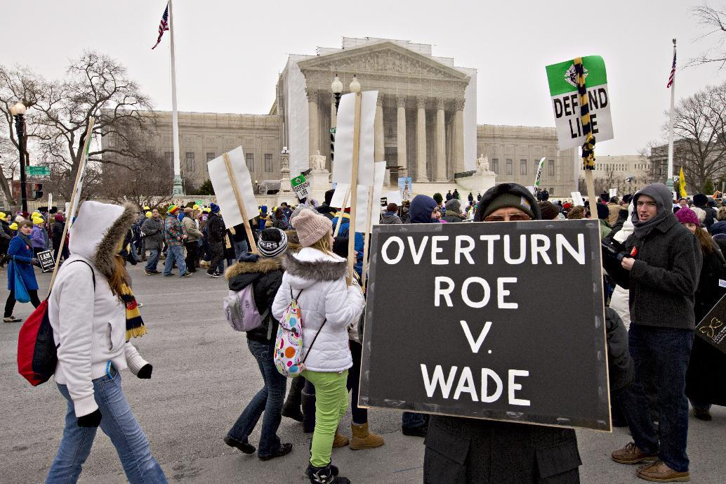 Anti-abortion activists march past the U.S. Supreme Court in Washington, Friday, Jan. 25, 2013, as they observe the 40th anniversary of the Roe v. Wade decision. Thousands of anti-abortion demonstrators marched through Washington to the steps of the U.S. Supreme Court to protest the landmark decision that legalized abortion. (AP Photo/J. Scott Applewhite)