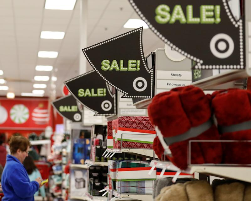 Signs point to the sale items during the Black Friday sales event on Thanksgiving Day at Target in Chicago, Illinois, U.S., November 24, 2016. REUTERS/Kamil Krzaczynski - S1AEUOTXIPAA