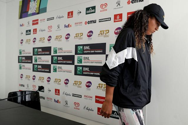 Naomi Osaka will not continue with competition at the Italian Open. (AP)