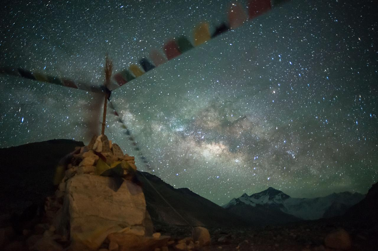 Low Light: 'Stars under Stupa': The Milky Way rises over the Everest base camp near Tibet (Tino Solomon, UK, 2013 Sony World Photography Awards)