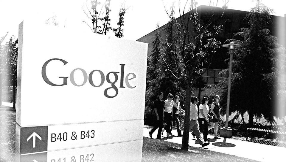 Employees at Google headquarters during the company's early days